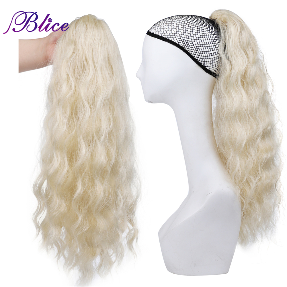 Blice Synthetic Long Curly Ponytail Extensions #613 Alita Heat Resistant Ponytail HairPieces Drawstring With Two Plastic Combs