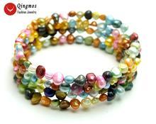 Qingmos браслеты из натурального жемчуга для женщин с 4 5 мм