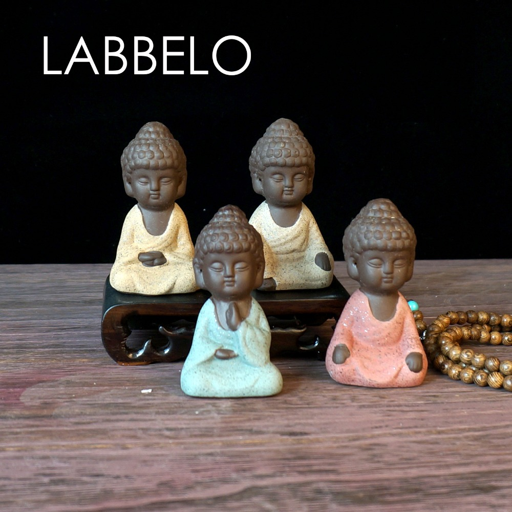 Labbelo Ceramic Buddha Statue Monk Boutique Equipment Auspicious Ornaments Sand Flower Backyard