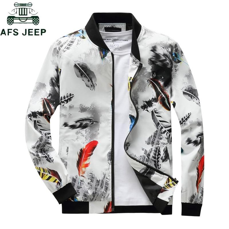 Fashion Floral Print Spring Autumn Men Jackets Coat Stand Collar Casual Men's Windbreaker Streetwear bomber jacket Plus Size 4XL