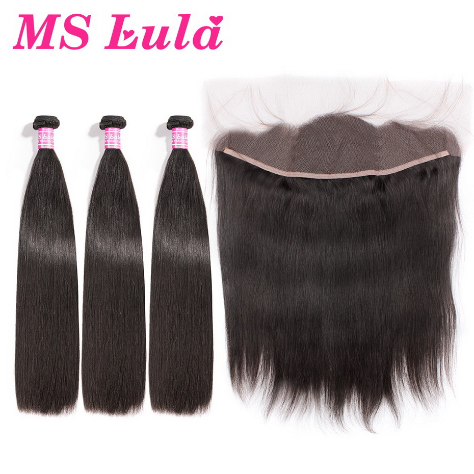 MS Lula Brazilian Straight 3Bundles With Lace Frontal Closure 4*13 Human Hair Bundles Swiss Lace Frontal Remy Hair Free Shipping