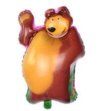 Büyük kahverengi ayı parti hava topları çizgi film karakteri hayvanlar Pet Jungle Safari folyo balonlar doğum günü partisi süslemeleri çocuk oyuncakları