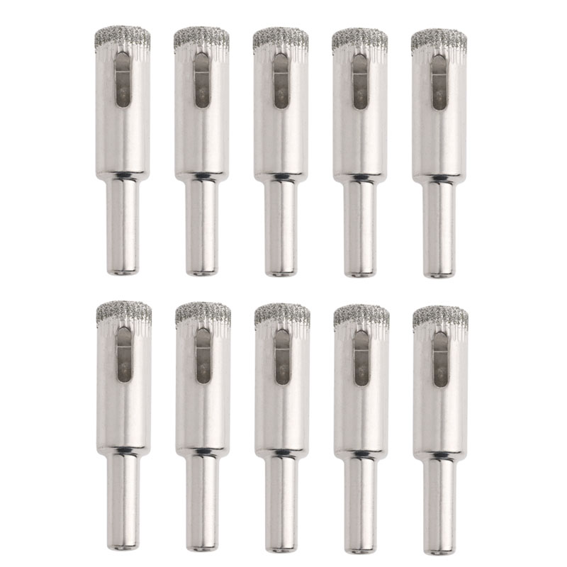 10pcs 12mm Diamond Coated Core Hole Saw Drill Bits Glass Tile Ceramic Marble