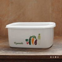 Heavy white porcelain enamel preservative pickles storage box butter vegetables ice cream bread food boxes