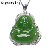 Sterling 925 silver Necklace Pendant Vintage Certificate Natural Green Jade Buddha Inlaid Zircon Craft For Woman Gift with Box