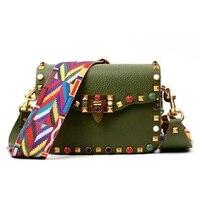 Hot Classic Leather Brand Girl Color Rivet Crossbody Women S Handbags Vintage Wide Shoulder Crossbody With