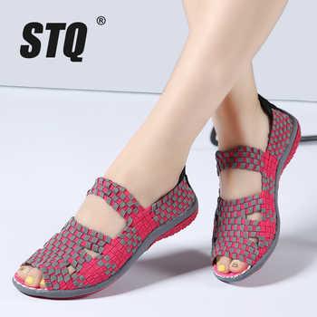 STQ 2020 Summer Women Flat Sandals Shoes Women Woven Flat Shoes Slides Sandals Ladies Sandals Ladies Beach Shoes Flip-flops 812 - DISCOUNT ITEM  39 OFF Shoes