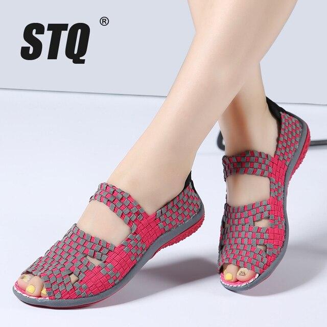 Sandálias femininas de verão stq 2020, sapatos baixos femininos de tecido, sandálias para senhoras, sapatos de praia flops 812,