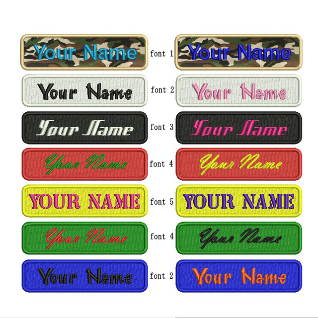 Custom Embroidery Name Patch iron on, 2 pcs Personalized Military Number Tag  Customized Logo ID