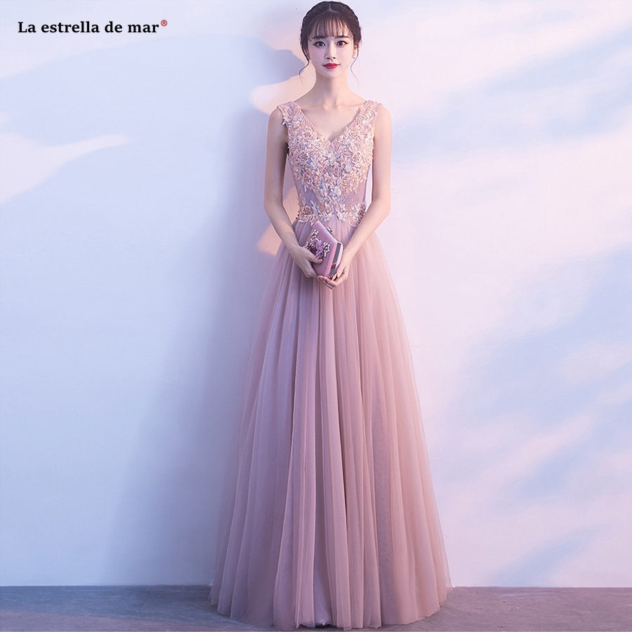 Vestido madrinha new sexy V neck Tulle a Line Blush pink   bridesmaid     dresses   long see bohemian robe demoiselle d'honneur