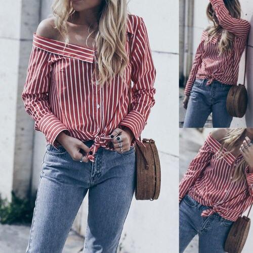 830f0491 Women Off Shoulder Long Sleeve Striped Shirt Button Down Casual Loose  Blouse Tops shirt