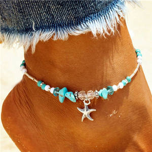 Vintage Starfish Pendant Anklets For Women 2019 Beach Stone Beads Anklet Bohemian Ankle Bracelet On Leg Summer Foot Jewelry