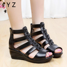 2019 Fashion New Womens Sandals Casual Summer Wedges Shoes Black Size 40 41 aa0822