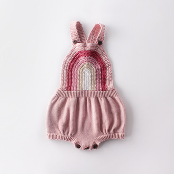 Ins Girls Baby Kids Rainbow Crochet Knitted Sweater Romper Infant Children Autumn Spring New Ins Fashion Clothing Rompers