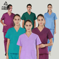 Doctor Nurse Uniform Hospital Medical Beauty Salon Scrub Sets Surgical Spa Uniforms Short Sleeve Breathable Lab Coat Pants