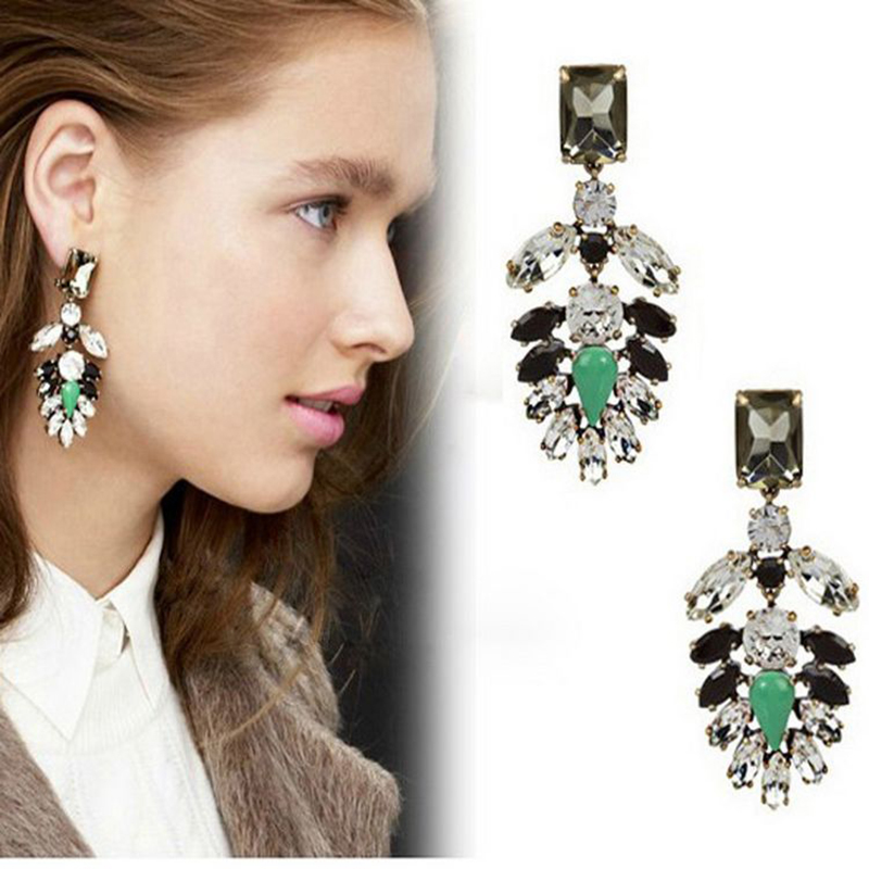 David Jewelry Whole E270 Vintage Color Block Gem Drop Earring New Brand Earrings Fashion Free Shipping In From
