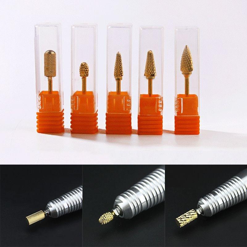 Mayitr 1 pc Ouro Carbide Bits Prego Broca de Carboneto de Brocas Do Prego Para Nail Art Manicure Pedicure Ferramenta Rotativa