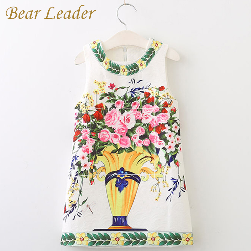 Bear Leader Girls Brand Dress European Style Sleeveless Rose Florals Printing Design for Kids Dress Children Clothing 3-8Y bear leader girls dress 2016 brand princess dress kids clothes sleeveless red rose print design for grils more style clothes
