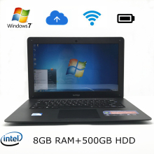 14 inch win7/win8.1 Laptop computer PC In-tel Celeron JI900 2.0GHZ Quad Core 8GB RAM,500GB HDD Slim Ultrabook,send mouse g mous