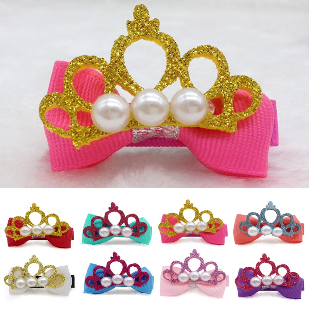 Fashion Girl Hollow Crown Hairpin Hand Made Glitter Pearl Baby Wedding Hair Accessories Kids