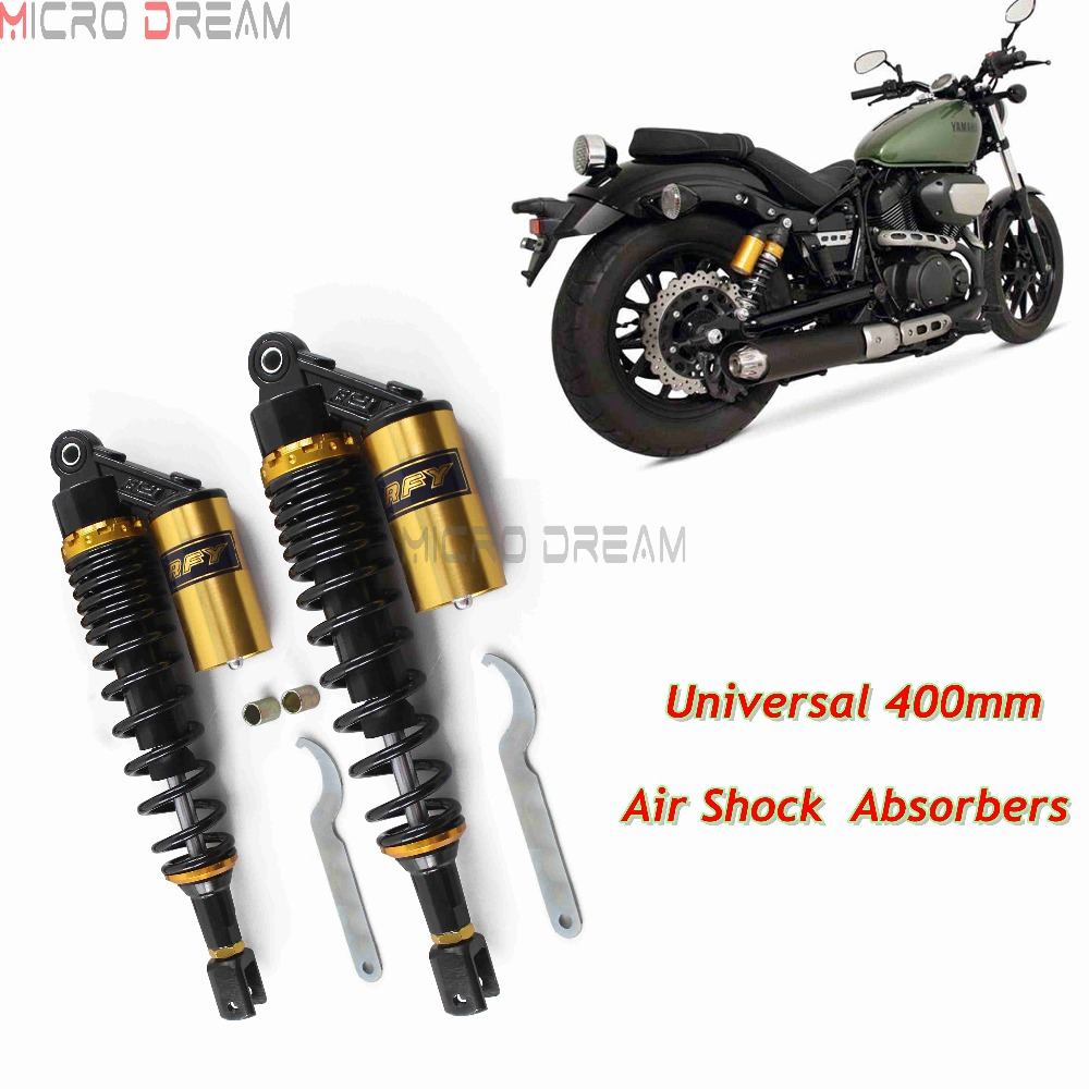 400mm Motorcycles Rear Air Shocks Absorbers Dirt Bike Suspension Clevis For Triumph Kawasaki Yamaha Honda BMW Scooter ATV in Falling Protection from Automobiles Motorcycles