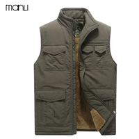 MANLI Brand Clothing Men Vest Multi pockets Vest Male Outerwear Stand Collar Mens Warm Fleece Waistcoat Hiking Vests Size 5XL