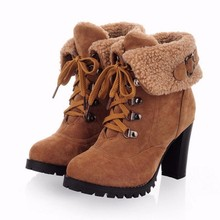 Women high botas fashion leather snow heel half short ankle plush boots winter martin snow footwear warm Australia boot size 43