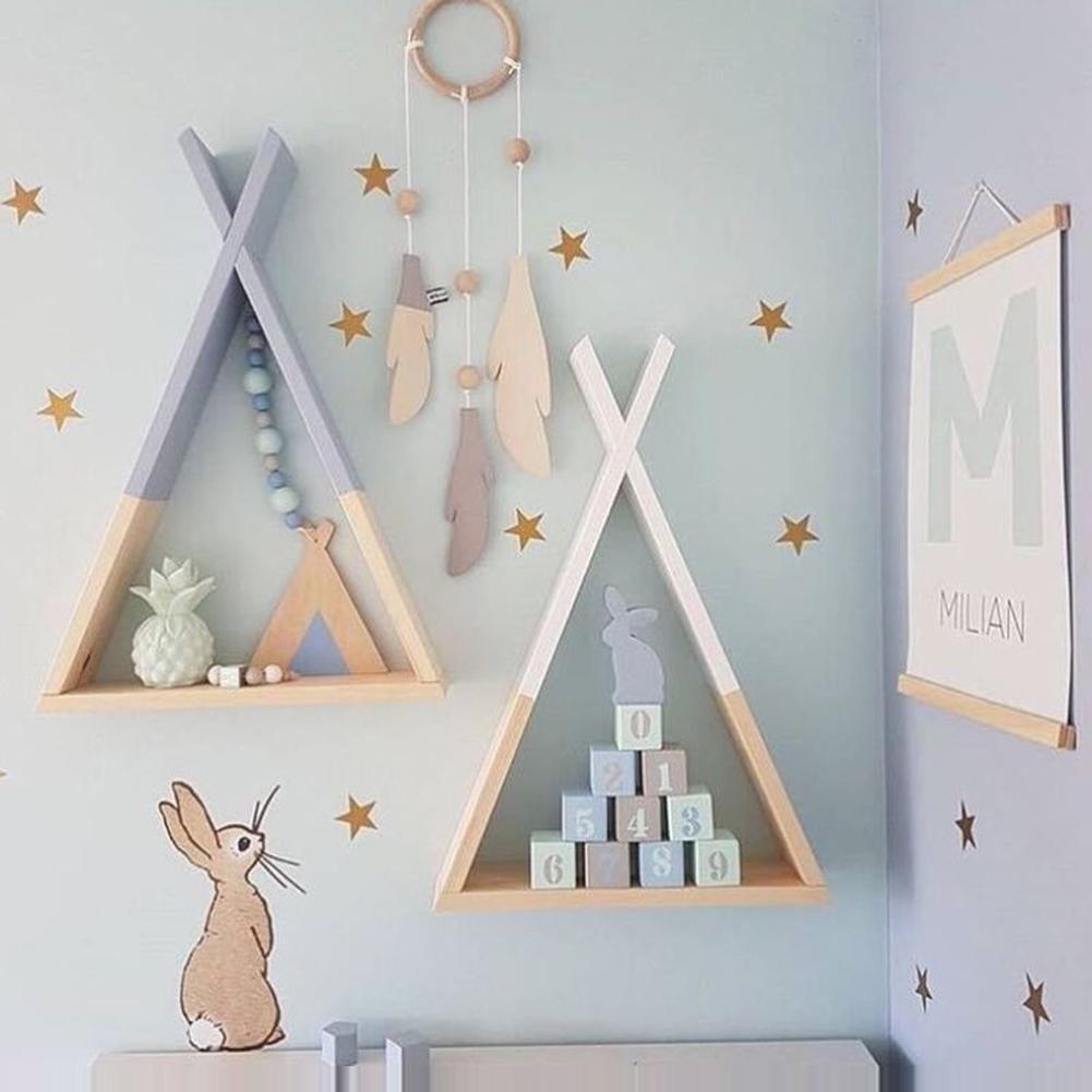 1Pc Living Room Wooden Triangles Storage Holder Rack Decor Wall Mounted Shelf  Bedroom Children Room Crafts Storage Rack