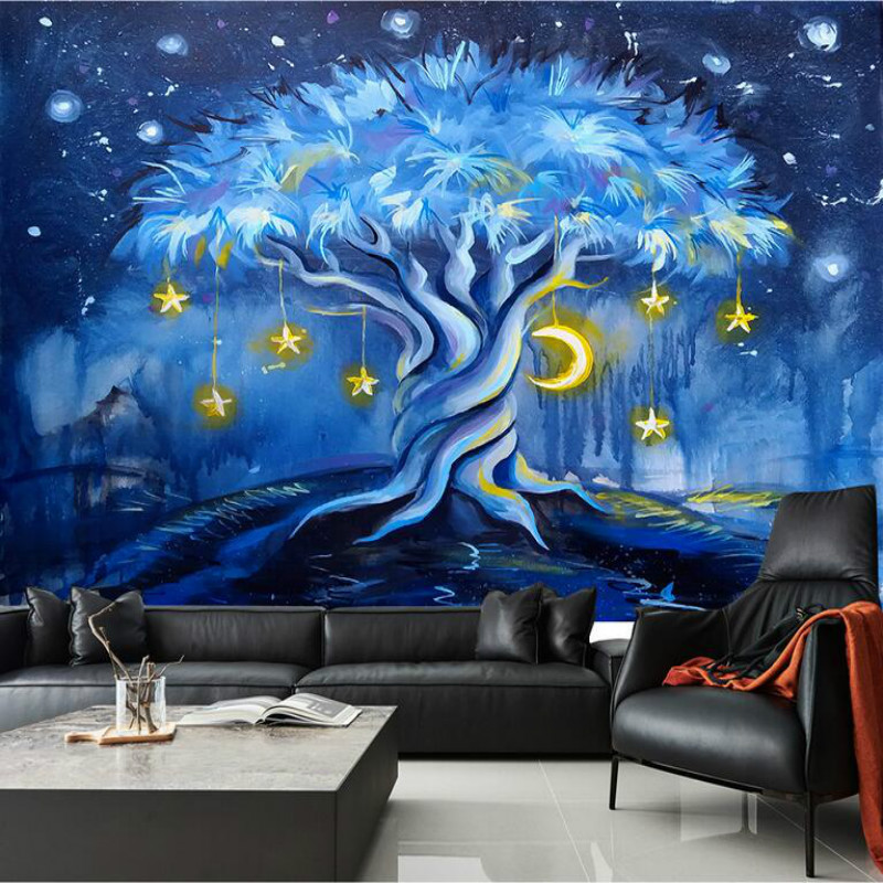 Cartoon Night View Blue Tree 3d Wallpaper for Children's Room Wall Decoration Painting Home Improvement Nonwovens Wallpaper royal view place 3 паттайя