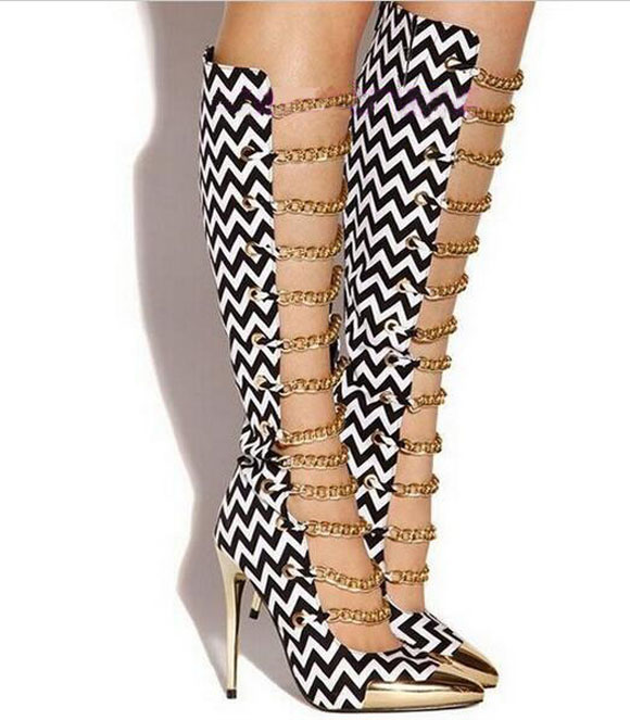 Sexy Gold Chains Decorated Boots Pointed Toe High Heel Knee High Gladiator Sandals Boots For Women Summer Dress shoes woman Free phyanic 2017 gladiator sandals gold silver shoes woman summer platform wedges glitters creepers casual women shoes phy3323
