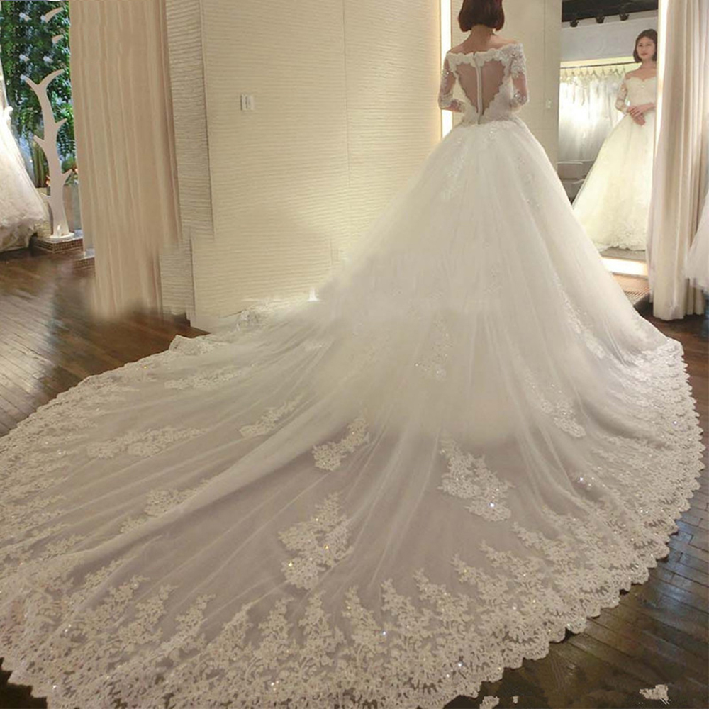 2019 Dubai Arabic Wedding Dresses Lace Appliques Off: Dubai Arabic Cathedral Train Wedding Dress 2019 Vestidos