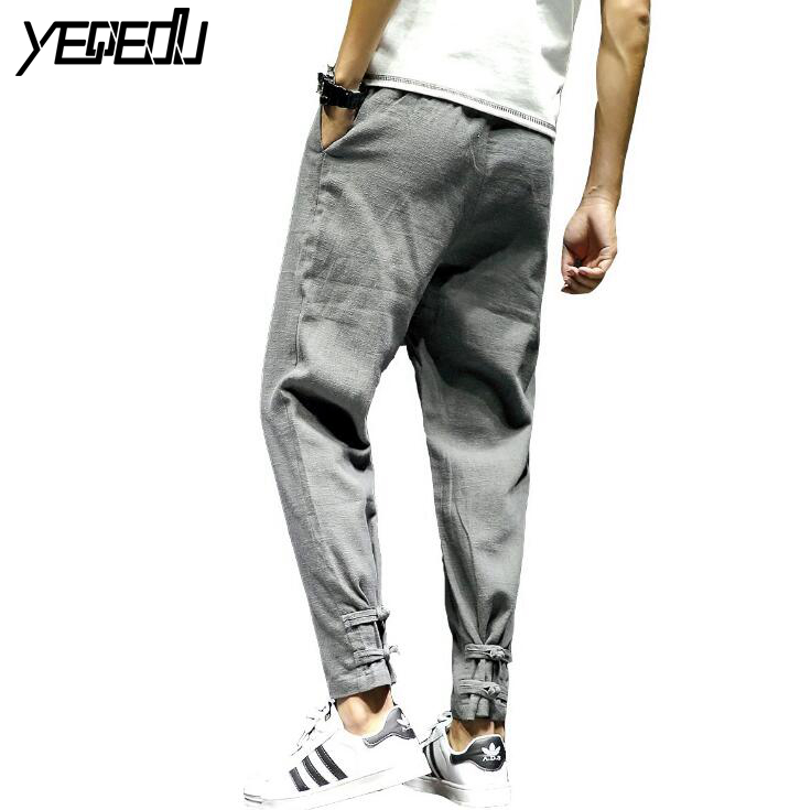 #2826 2018 Men compression pants Loose Elastic waist Plus size Preppy Style Linen cotton Joggers Pantalon hombre Hip hop pants
