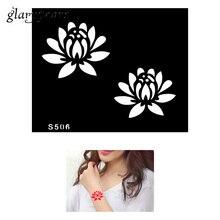 1 Piece Small Indian Henna Tattoo Stencil Lotus Paste Drawing Design For Women Body Art DIY Mehndi Template Tattoo Stencil S506