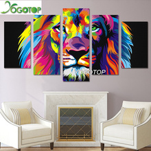 YOGOTOP DIY Diamond Painting Cross Stitch Kits Full Diamond Embroidery 5D Diamond Mosaic Home Decor Colorful lion 5pcs ML218 yogotop diy diamond painting cross stitch kits full diamond embroidery 5d diamond mosaic decor colorful butterfly 5pcs ml307