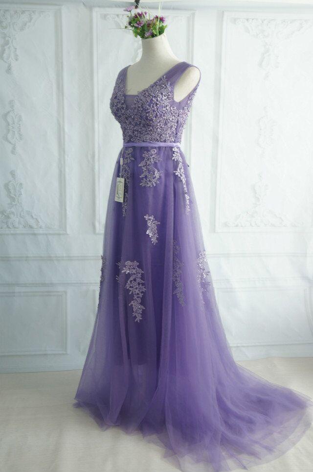 Robe De Soiree SSYFashion, кружевное, с бисером, сексуальное, с открытой спиной, длинное вечернее платье, для невесты, банкета, элегантное, длина до пола, для вечеринки, выпускного вечера - Цвет: 646 Lavender