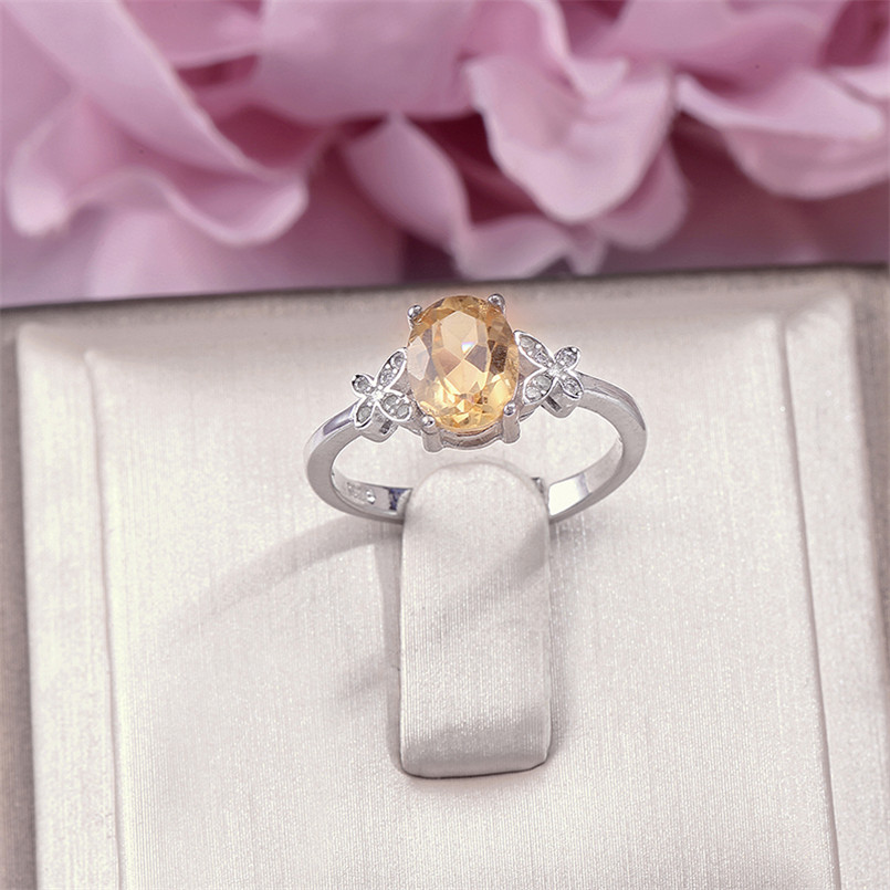 Fine Jewelry 925 Silver Rings For Women 8*6mm Citrine Yellow Oval Natural Gemstone Adjustable Ring Elegant Wedding Bands R-CI002