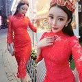 2016 nuevas mujeres delgado ahueca hacia fuera flores dress vestidos sexy perspectiva de encaje rojo 7787