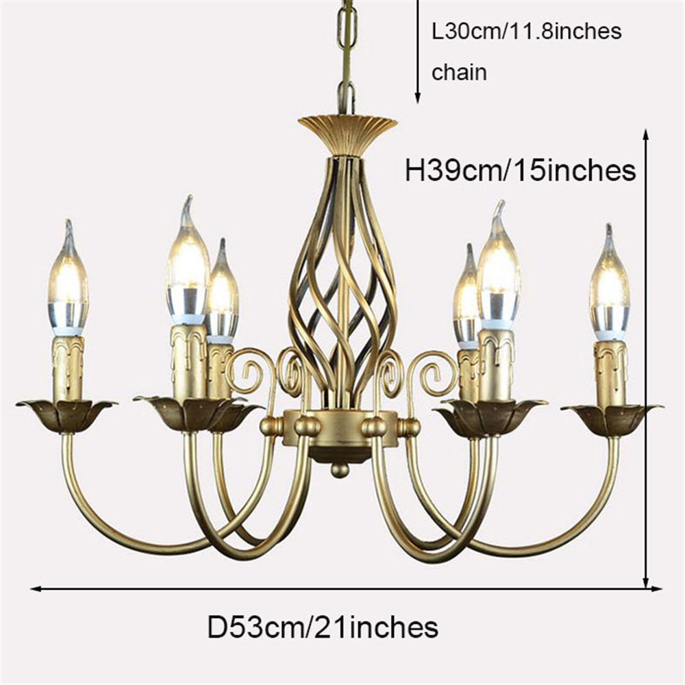 Image 4 - Vintage Wrought Iron Chandelier E14 Candle hanging Light Lamp Bronze Metal LED home Lights Fixture modern iron lustre promotiom-in Chandeliers from Lights & Lighting