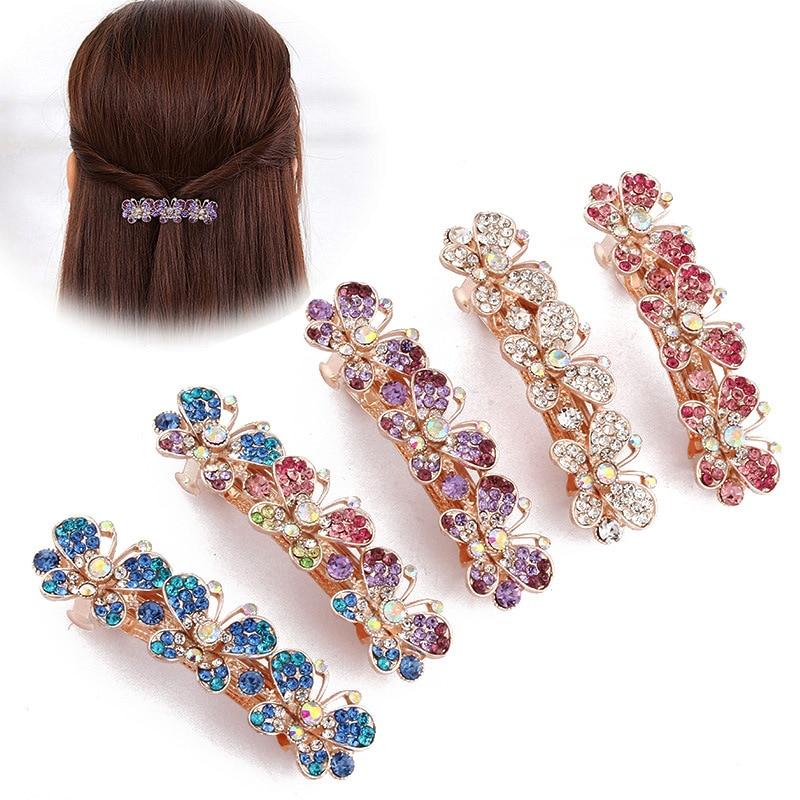 1 Para Mode Luxus Kristall Bunte Schmetterling Haarnadeln Bling Headwear Haar Zubehör Haarspange Frauen Strass Haar Clip Haar Schmuck