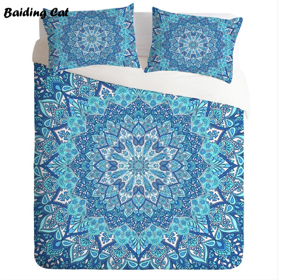 European and American Style Bohemian Flowers Bedding Set 3pcs Mandala Bed Linen Home Textile Bedclothes Duvet Cover PillowcasesEuropean and American Style Bohemian Flowers Bedding Set 3pcs Mandala Bed Linen Home Textile Bedclothes Duvet Cover Pillowcases
