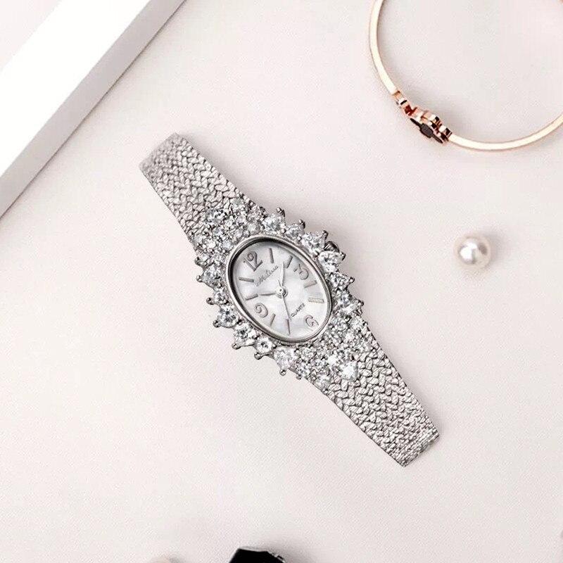 Melissa Frauen Marke Luxus Strass Schmuck Uhren Vintage Mode Oval Armband Uhr Japan Quarz Analog Armreif Uhr Femme-in Damenuhren aus Uhren bei  Gruppe 1