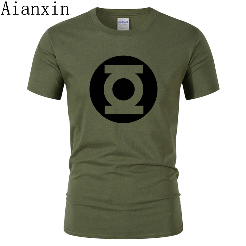 AIANXIN 2019 New Green Lantern   t     shirt   Men The Big Bang Theory   T  -  shirt   Top Quality Cotton Sheldon Cooper Super heroT   Shirts   Men