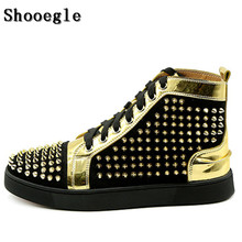SHOOEGLE Newest Black Gold Rivets Men Shoes Fashion Studs Lace-up Hightop Flat Casual Sneakers Motorcycle