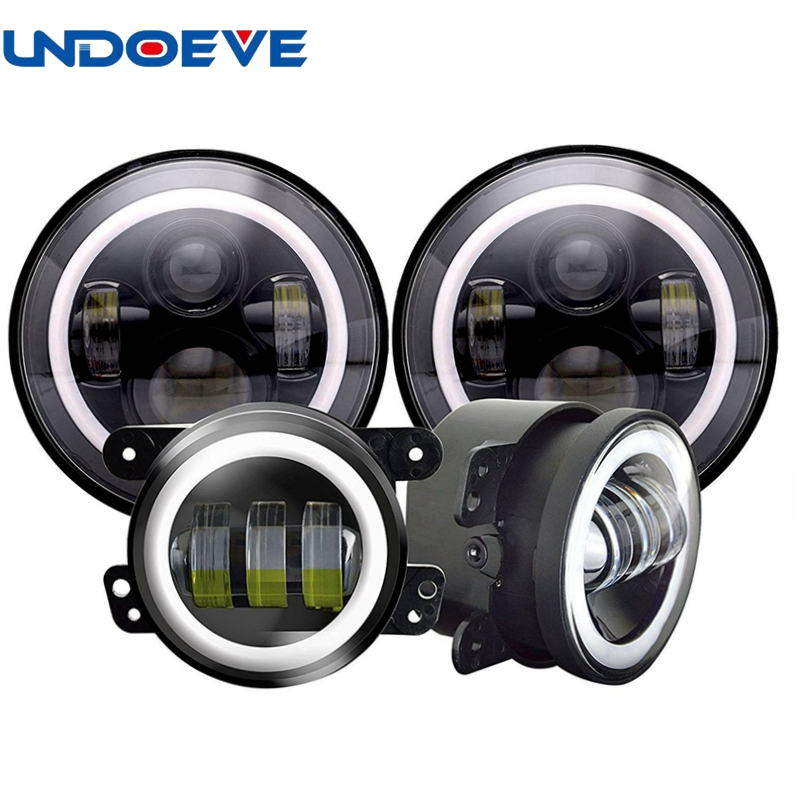 7 Inch LED Headlights Angel Eye with White Halo DRL Amber Turn Signal High/Low Beam + 4 Inch Halo Fog Lights for 1997-2017 JK JK 7 inch 30w led headlight hi low beam headlamp with red demon eye white angel eye green halo white halo for jeep hummer h1 h2