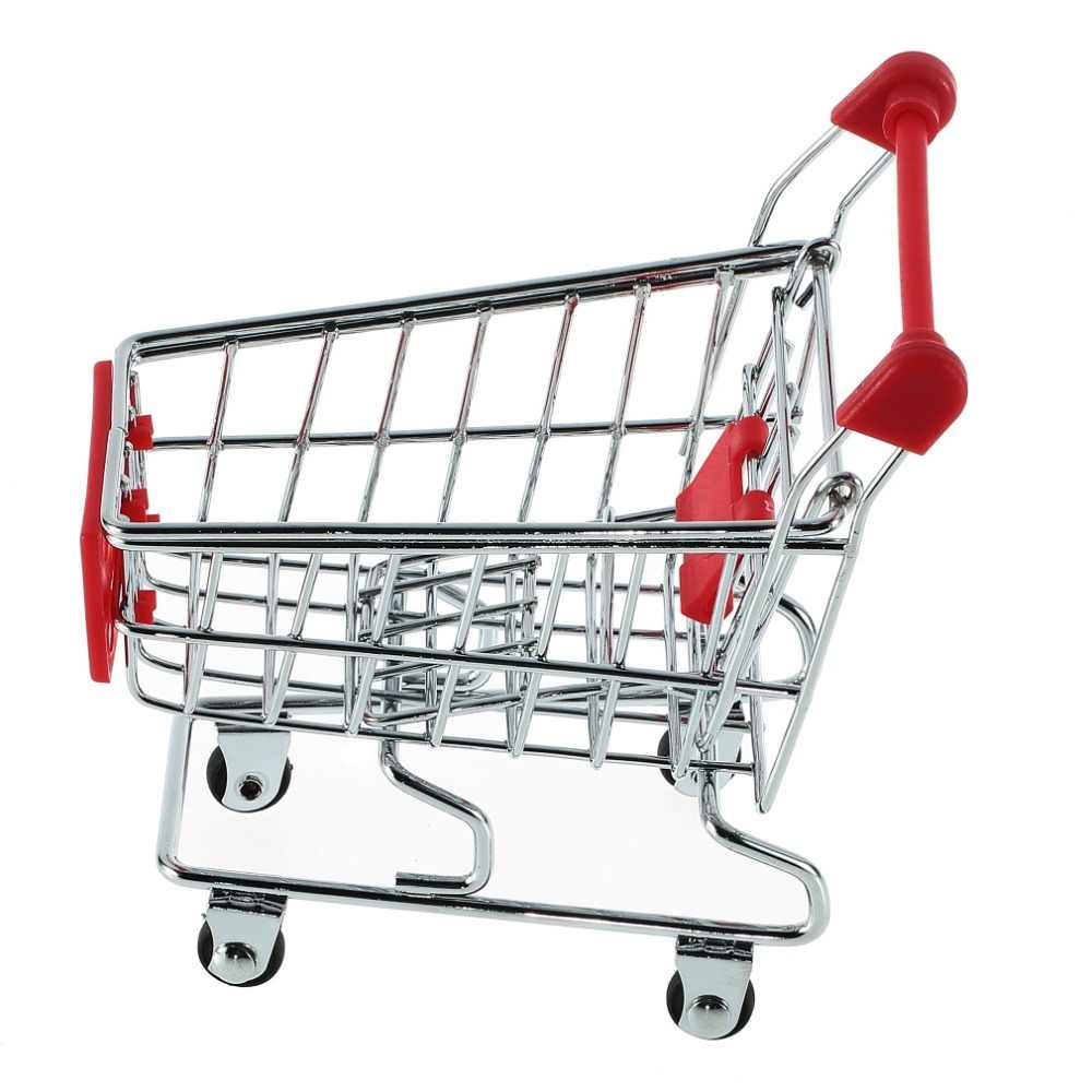 Superior quality Cute Stainless Steel Mini Supermarket Handcart Shopping Utility Cart Colors Stylish
