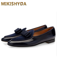 MIKISHYDA Men Genuine leather Shoes Bowknot Slip-on Oxfords Belgian loafers Wedding Flats Handmade Dress EU39-EU46