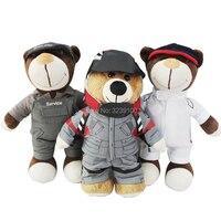 Motorsport Misia 11 Cal Spersonalizowane Nadziewane Misie z Kask Ubrania zabawki Można Zdjąć Miś Pluszowy Walentynki Prezent dla chłopiec