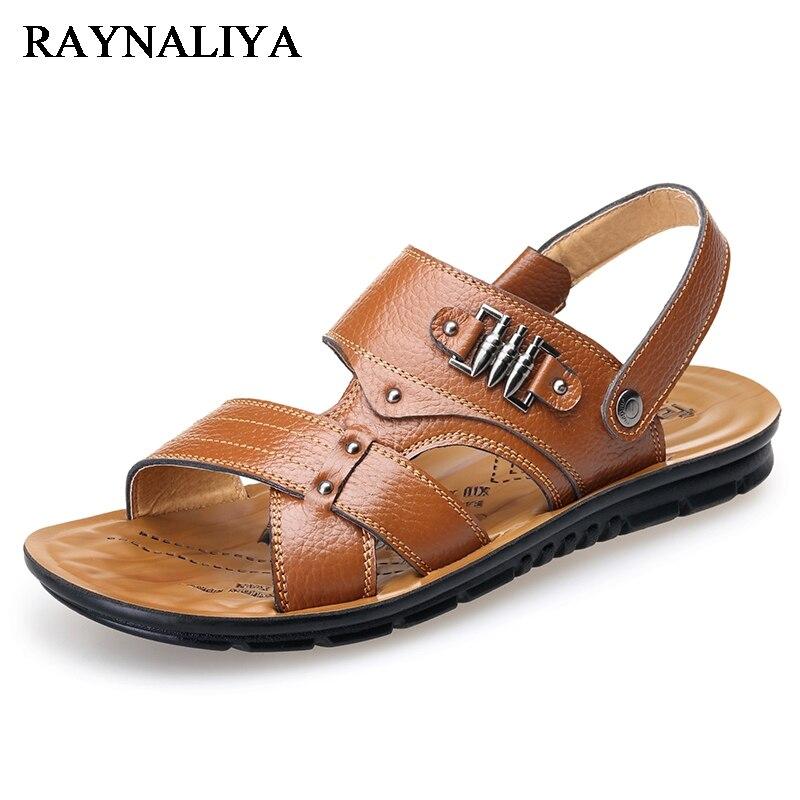 Men Sandals 2018 Summer Men Black Beach Sandals High Quality Unisex Summer Flat Shoes Sandalias Big Size 39-44 BH-A0115