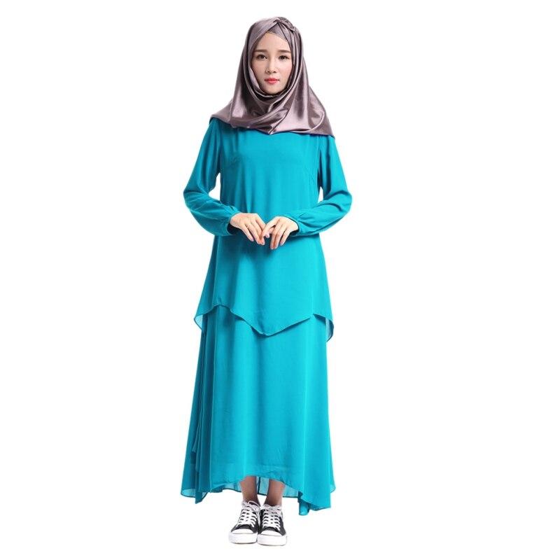 Fashion Muslim Dress Islamic Cocktail Ladies Long Sleeve Vintage Solid Dresses Summer 2 Layer Dubai Abaya Turkish Women Clothing