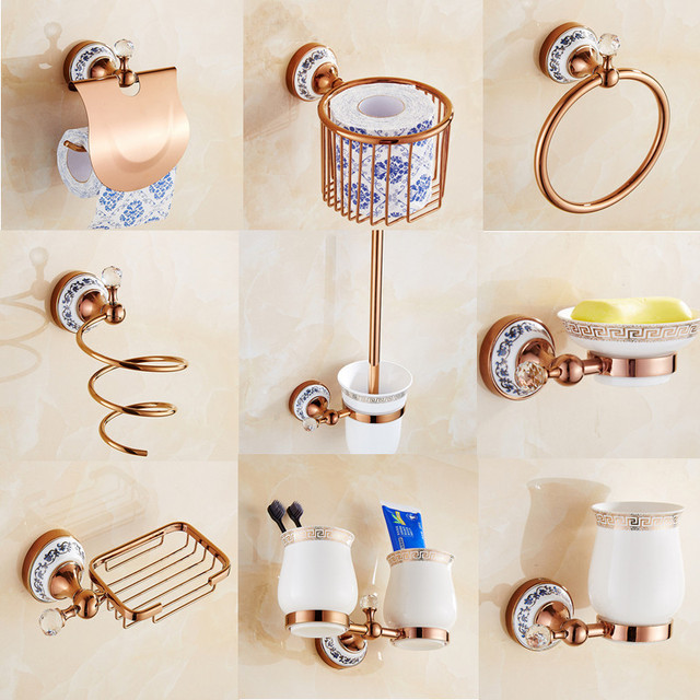 free shipping luxury style rose gold bathroom accessories copper and ceramic bathroom hardware set towel ring - Gold Bathroom Accessories